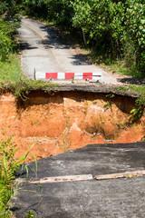 Break of asphalt road in Thailand
