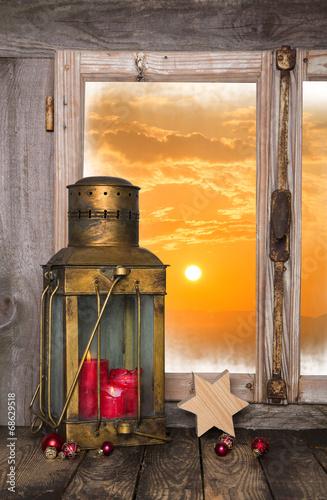 canvas print picture Erster Advent im Weihnachtsfenster: Dekoration Weihnachtlich