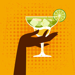 Illustration with glass of margarita and hand.