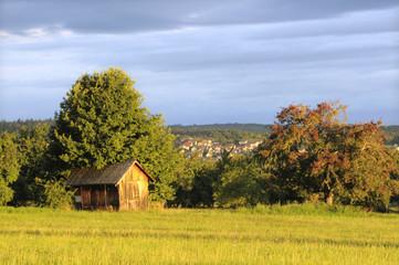 Holzhütte mit Dorf-Hintergrund
