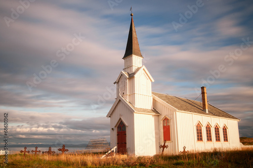 canvas print picture Kirche Nesseby in Norwegen