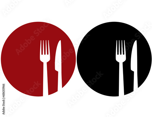 plate with fork and knife - 68630966