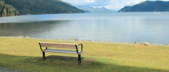 Park bench at Harrison Hot springs, British Columbia, Canada