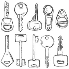 Vector Set of Sketch Modern Keys.