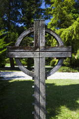 Wooden celtic cross on cemetary