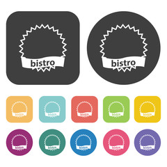 Bistro sign icon set. Cafe and restaurant symbol. Round and rect