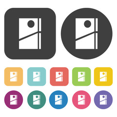 Refrigerator icons set. Restaurant symbol. Round and rectangle c
