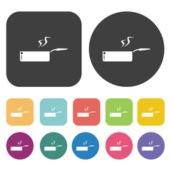 frying pan icon set. Round and rectangle colourful 12 buttons.