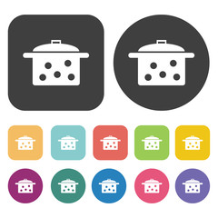 Cooking pot icon set. Round and rectangle colourful 12 buttons.