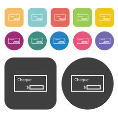 Bank check icons set. Finance and business symbol. Round and rec