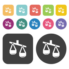 Lawyer symbol Scales sign icons set. Finance and business symbol