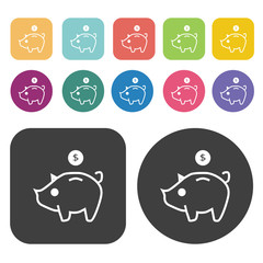 Piggy bank icon set. Finance and business symbol. Round and rect