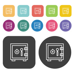 Safe vector icon set. Finance and business symbol. Round and rec