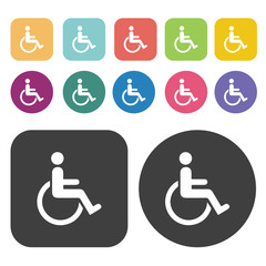 Wheelchair Handicap and disabled icon sign vector. Round and rec