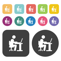 Businessman working on computer icon set. Round and rectangle co