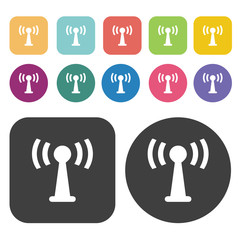 Wifi spot icon set. Round and rectangle colourful 12 buttons.