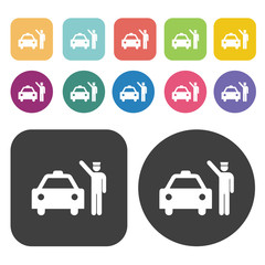 Taxi Icon set. Round and rectangle colourful 12 buttons.