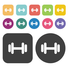 Dumbbels icons set. Round and rectangle colourful 12 buttons.