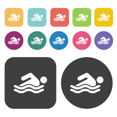 Swimming icons set. Round and rectangle colourful 12 buttons.