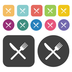 crossed fork over knife icon set. Round and rectangle colourful