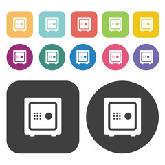 Safe icons set. Round and rectangle colourful 12 buttons.