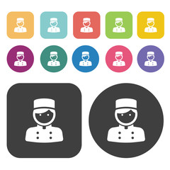 Chef icons set. Round and rectangle colourful 12 buttons.