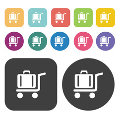 Hotel baggage cart icon set. Round and rectangle colourful 12 bu