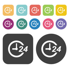 Helpdesk 24 hour icon set. Round and rectangle colourful 12 butt