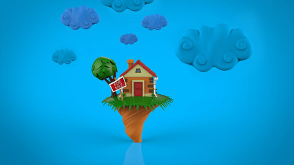 cartoon funny  house in summer season, with blue clouds