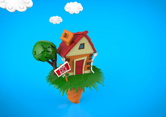 Funny cartoon house in summer season with blue clouds