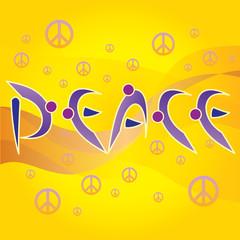 Mot Peace Ecriture Personnages Symbole Peace and Love