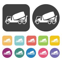 Concrete mixer truck icons set. Round and rectangle colourful 12