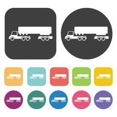 Semi-trailer Truck icons set. Round and rectangle colourful 12 b