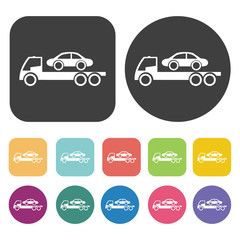 Car towing truck icon. Round and rectangle colourful 12 buttons.