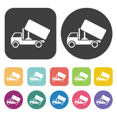 Dump truck icons set. Round and rectangle colourful 12 buttons.