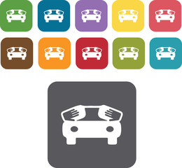 Car wax icons set. Rectangle colourful 12 buttons. Illustration