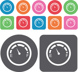 Circular gauges icons set. Round and rectangle colourful 12 butt