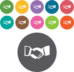 Handshaking sign icons set. Round and rectangle colourful 12 but