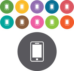 Mobile devices sign icons set. Round colourful 12 buttons. Illus