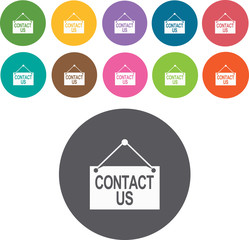 Contact us - information sign icons set. Round colourful 12 butt