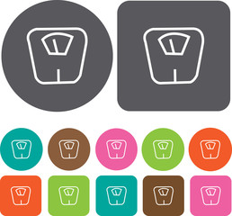 Scale Weight Balance icon. Health and Fitness icons set. Round a