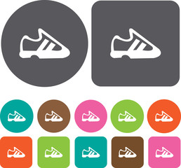 Running Shoe. Health and Fitness icons set. Round and rectangle