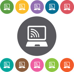 Laptop Wireless Hotel icons set. Round colourful 12 buttons. Ill