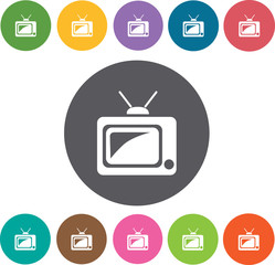 Television. Hotel icons set. Round colourful 12 buttons. Illustr