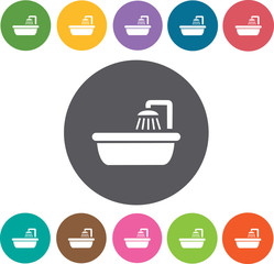 Bath tub Hotel icons set. Round colourful 12 buttons. Illustrati