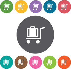 Luggage Hotel icons set. Round colourful 12 buttons. Illustratio
