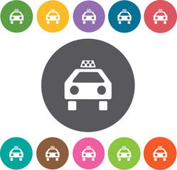 Taxi Hotel icons set. Round colourful 12 buttons. Illustration e
