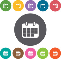 Calendar 204 icons set. Round colourful 12 buttons. Illustration