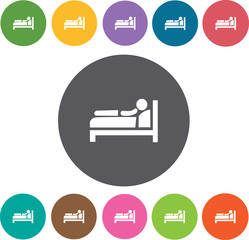 Bed icon. Hotel icons set. Round colourful 12 buttons. Illustrat