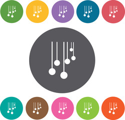 Hotel icons set. Round colourful 12 buttons. Illustration eps10